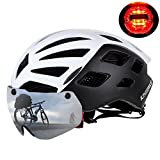 KINGBIKE Bike Helmet Bicycle Helmets Cycling for Adults Men Women Youth Detachable Magnetic Visor Shield Goggles UV4000 Protection LED Rear Light MTB Road Commute Street Specialized (White)