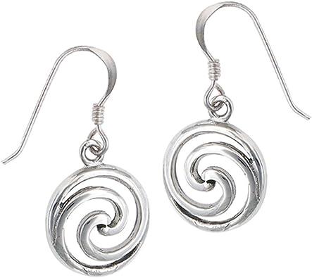 Silver dangle circular wave earrings