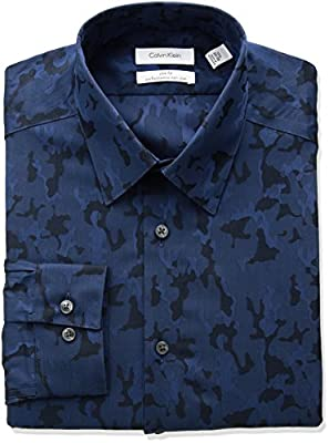 Calvin Klein Men's Non Iron Stretch Slim Fit Camo Point Collar Dress Shirt