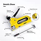 Staple Gun with 600 Staples, Mopha Carbon Steel 3 in 1 Staple/Brad Nail Gun, Hand Operated Stapler for Upholstery, Fixing Material, Decoration, Carpentry, Furniture w/BONUS A PAIR OF Gloves