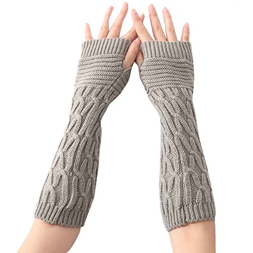 (Women Fashion Knitted Arm Sleeve Fingerless Winter Gloves Soft Warm Mitten (Gray))