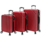 Lucas 3 Piece Rolling Luggage Set Hard Case With Spinner Wheels (Red)