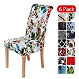 smiry Stretch Printed Dining Chair Covers, Spandex Removable Washable Dining Chair Protector Slipcovers for Home, Kitchen, Party, Restaurant - Set of 6, Chrsitmas Flower