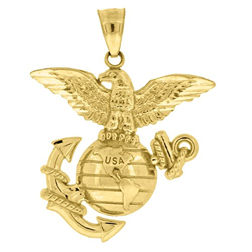 10kt Gold Unisex US Marine Corps Eagle Globe Anchor Ht:32.2mm x W:24mm Badge Charm Pendant Eagle Pendant 10kt Gold Jewelry