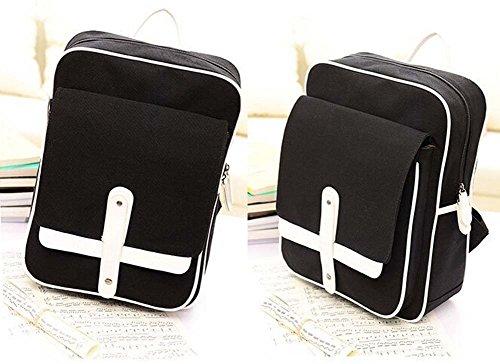 Women's Package Canvas Shoulders Bag Backpack Preppy Style Students Schoolbag Cute Bagpack Travelling Bag (Black)