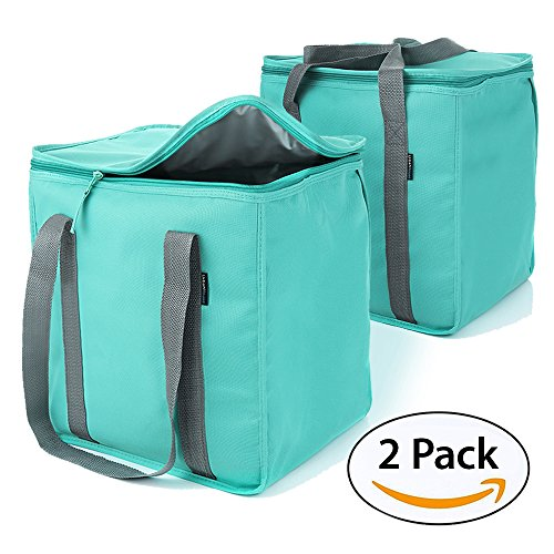 Urban House (2-Pack) Premium Grade Insulated Grocery Shopping Cooler Bag with Heavy Wall Insulation and Zipper Top Lid Keeps Food Cold or Hot, Large (13