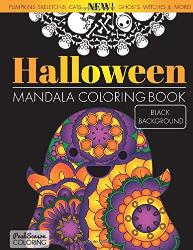 Halloween Mandala Coloring Black Background product image