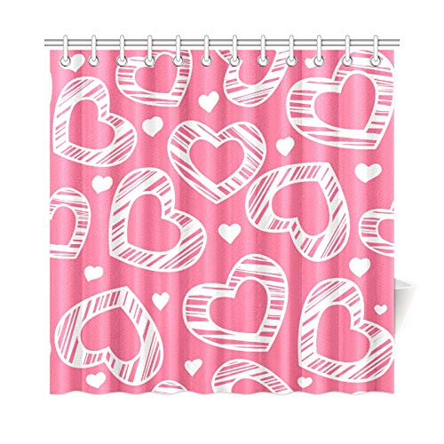 VNASKL Home Decor Shower Curtain Waterproof White Scribble Hearts On Pink Polyester Fabric Waterproof Kid Fabric Shower Curtain for Bathroom 7272 Inch with Hooks ()