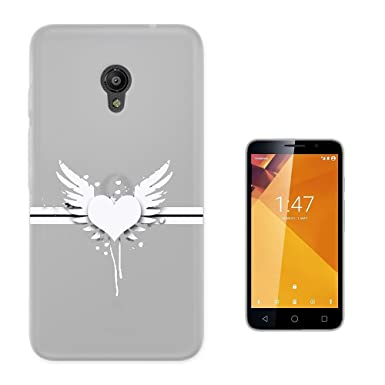 Amazon.com: C01715 - Abstract Heart And Wings Design Vodafone Smart Turbo 7 Fashion Trend CASE Gel Rubber Silicone All Edges Protection Case Cover: Cell ...