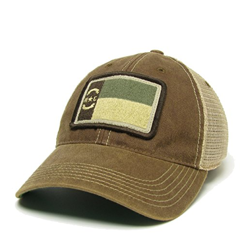 North Carolina (NC) Flag Patch Trucker Hat (Brown Subdued)