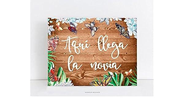 Cartel de madera boda, decoración de boda.Aquí llega la ...