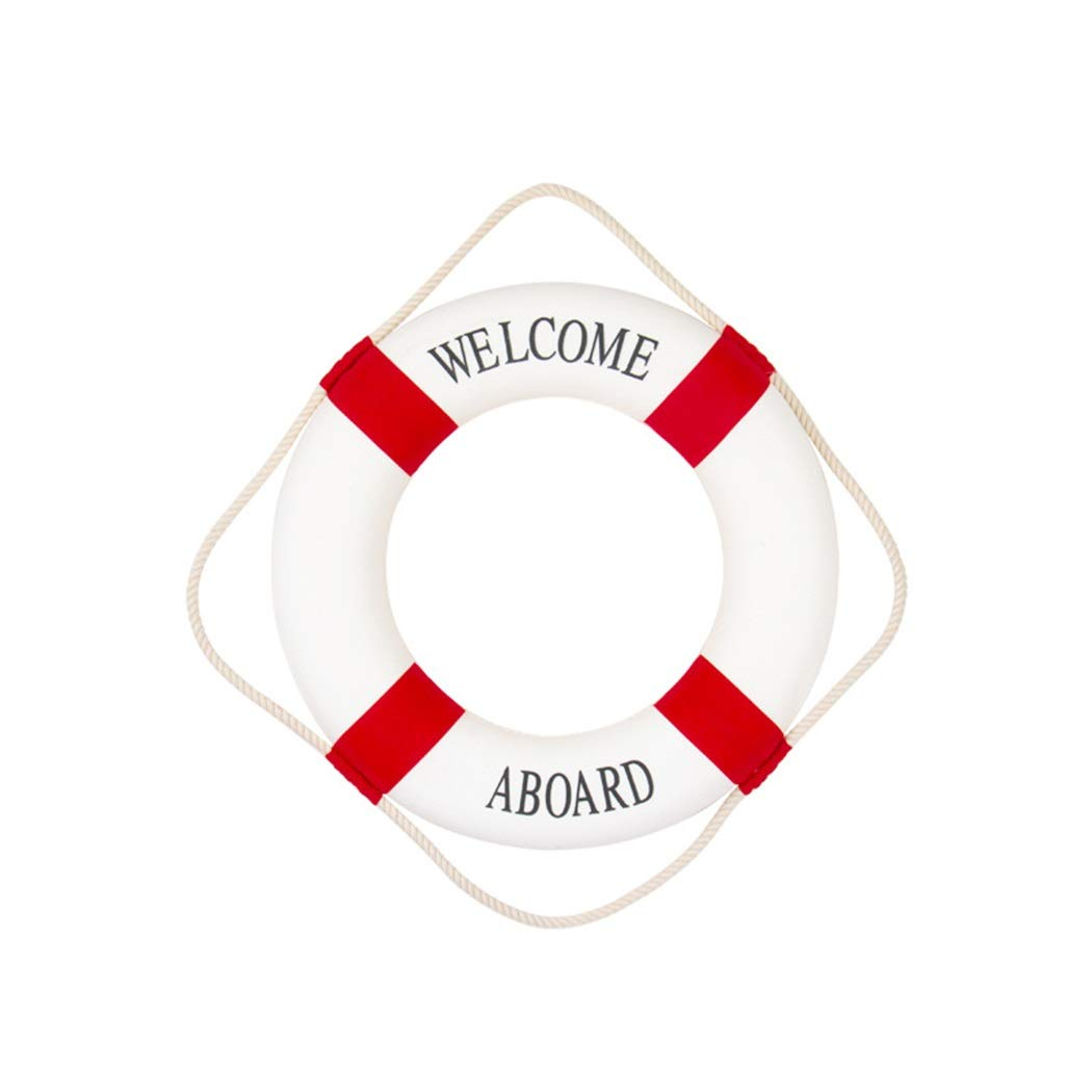 YONGYONG 家の壁の装飾救命浮輪地中海風工芸品救命浮環壁掛け救命浮輪25/35/45 / 50CM (色 : Red, サイズ さいず : 50CM) B07PFD4QP3 Red 50CM