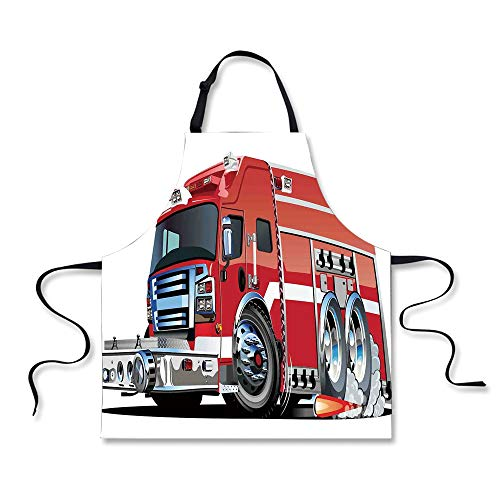 - iPrint BBQ Apron,Cars,Big Fire Truck with Emergency Equipments Universal Safety Rescue Team Engine Cartoon,Red Silver, Apron.29.5