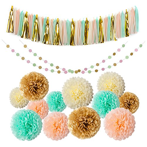 Mint Gold Peach Cream Tissue Pom Poms 54 Pcs Paper Flowers Tissue Tassel Paper Garland Kit for Baby shower Party Wedding Birthday (Baby Shower Decor Kits)