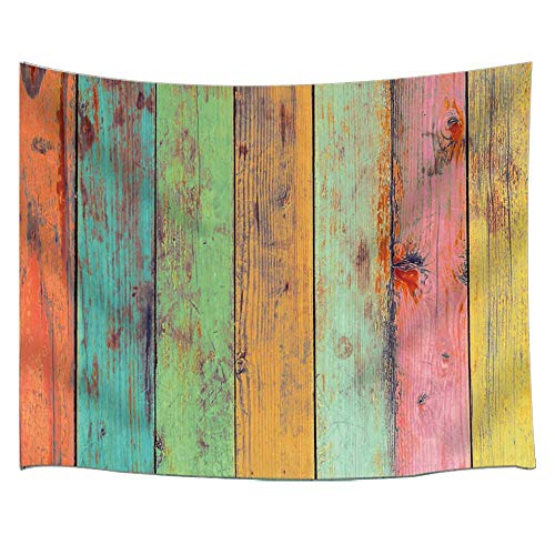 - Rustic Wooden Wall Blanket Art Home Decor Vintage Colorful Wallpaper Artwork Painted on Wood Tapestry Wall Hanging for Bedroom Living Room College Dorm