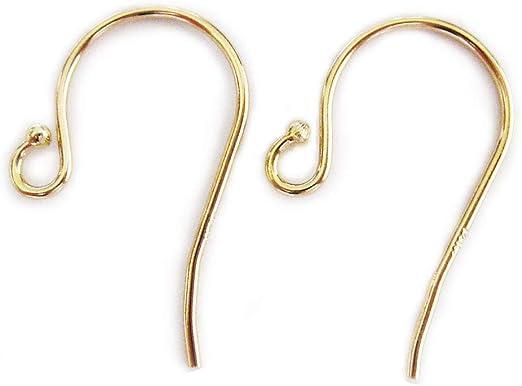 handmade open hoop swish earring hook Solid 14k Gold Earrings