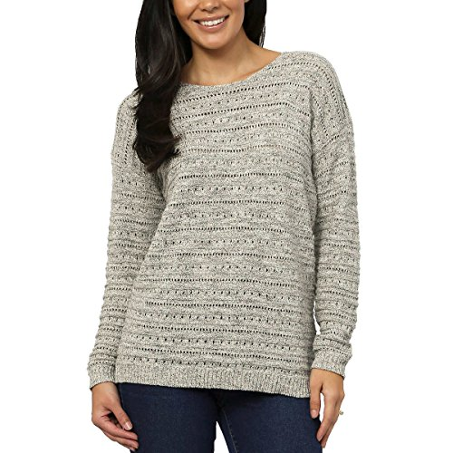 (Leo & Nicole Ladies' Pointelle Sweater (Gray, Medium))