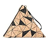 Oversize Triangle Clutch in Geo Cork with Wrist Strap
