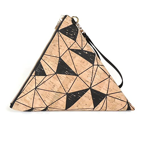 Oversize Triangle Clutch in Geo Cork with Wrist Strap by SPICER BAGS