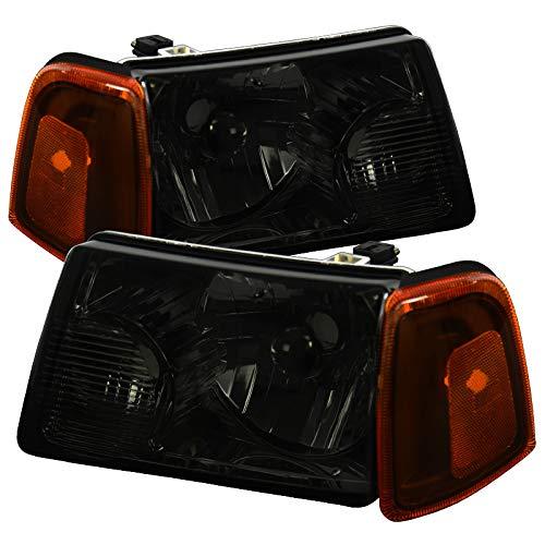 Carpartsinnovate For 01-11 Ford Ranger Pickup Truck Smoke Headlights+Amber Lens Corner Lamps Pair