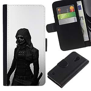 KLONGSHOP // Tirón de la caja Cartera de cuero con ranuras para tarjetas - Oscuro Goth Mujer - Samsung Galaxy S4 IV I9500 //