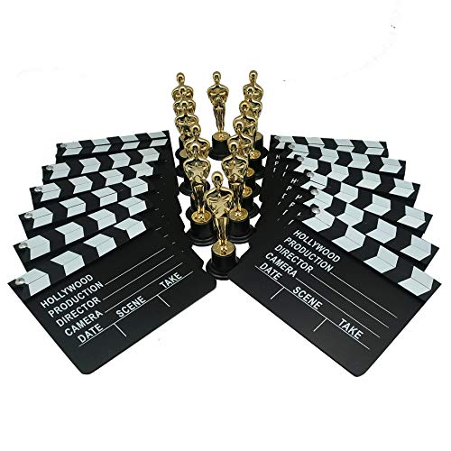 Golden Oscar Award Trophies & Movie Clapboard by