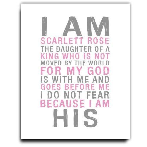 Amazon.com: I am His Paper Art Print | Girls Wall Art | Girl ...