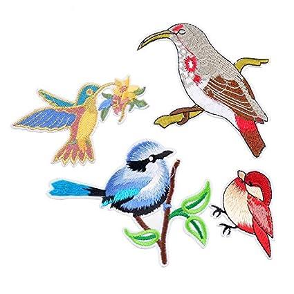 4 parches termoadhesivos cool colibris y pajaritos bordado en delicados colores para cazadoras, vaqueros,