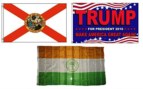 ALBATROS 3 ft x 5 ft Trump 2016 with State of Florida with City of Miami Set Flag for Home and Parades, Official Party, All Weather Indoors Outdoors ()