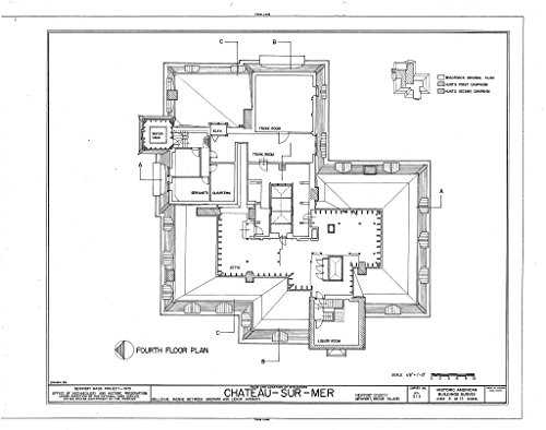 Historic Pictoric Blueprint Diagram HABS RI,3-NEWP,59- (Sheet 8 of 12) - Chateau-sur-Mer, Bellevue Avenue, Newport, Newport County, RI 44in x ()