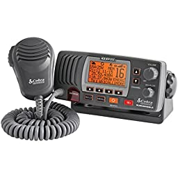 COBRASELECT MR F77B GPS Marine Fixed Mount VHF Radio with Built-in GPS Receiver (Black)