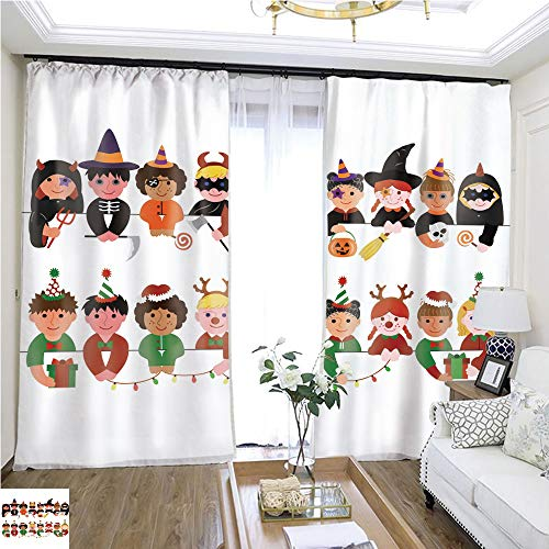 Window hangings Cute Boys and Girls Border Set with Halloween Costumes and with Christmas Costumes W96 x L252 Print Curtains Bedroom Curtains Highprecision Curtains for bedrooms Living Rooms kitc ()