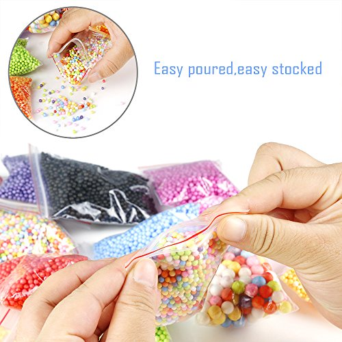Large Product Image of OPount 19 Pack Colorful Styrofoam Foam Balls for Slime 0.08-0.35 Inch with Tools and Fruit Slice for Slime Making Art DIY Craft(Not Contain Slime)