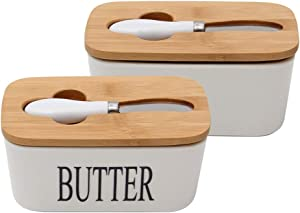 Butter Dish Ceramic Butter Dish with Bamboo Lid, Butter Keeper Container with Butter Knife Food Storage Candy Box, White Ceramic Black Letter English Butter Dish Butter Boat (Color : C)
