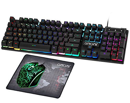 Gaming LED Wired Keyboard and Mouse Combo with Emitting Character 3200DPI USB Mouse Multimedia Keys Rainbow Backlight Mechanical Feeling for PC Resberry Pi Mac TOB Box with Mousepad,910b by CHONCHOW