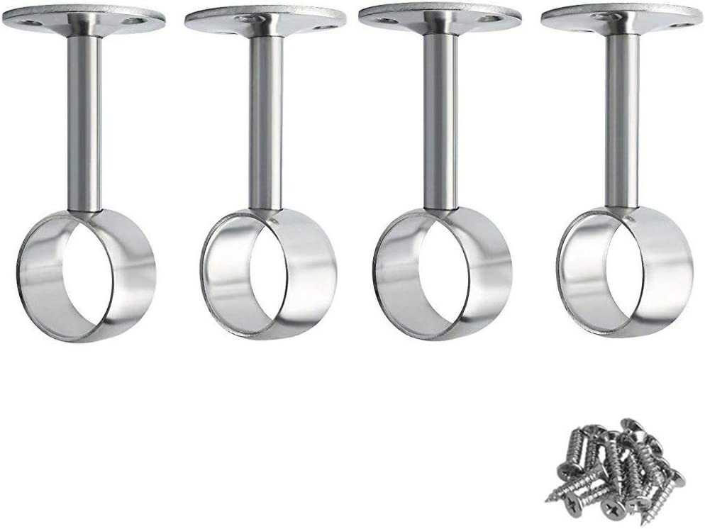 BTMB Stainless Steel Shower Curtain Pipe Wardrobe Pole Holder Lever Flange Socket 4 Pack (24mm/0.95'')