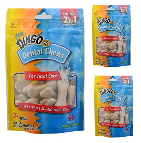 (3 Pack) Dingo Dental Chews Fresh Breath Dog Treats, 24 Chews -