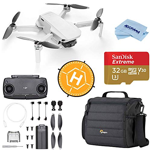 DJI Mavic Mini Drone FlyCam Quadcopter with 2.7K Camera 3-Axis Gimbal GPS, 30-Minutes Flight Time, Basic Bundle with Case, 32GB microSD Card, Landing Pad, Cloth