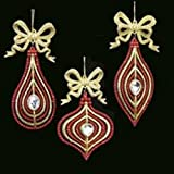 Club Pack of 24 Red and Gold Gem Drop, Finial and Onion Christmas Ornaments 6.5''