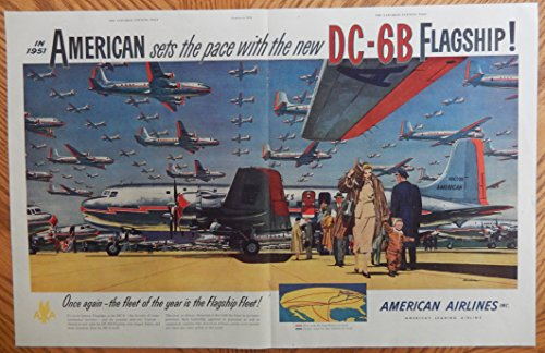- American Airlines, 50's Print Ad. Two Page Centerfold Color Illustration (DC-68 Flagship-Famous Flagships-Beautiful Airplanes) Original Vintage, 1951 Rare the Saturday Evening Post Magazine Art
