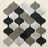 3D Peel and Stick Metal Backsplash Tile for Kitchen / Bathroom, Brush Silver Alumimium Lantern Shape,LSALS01