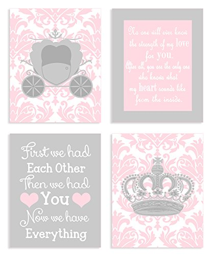 The Kids Room by Stupell Sweet Messages in Pink and Grey 4-Pc Rectangle Wall Plaque Set by The Kids Room by Stupell