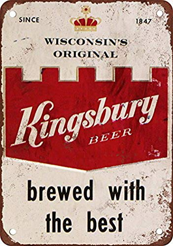 Tengss Kingsbury Beer Vintage Look Reproduction Metal Tin Sign 8X12 Inches