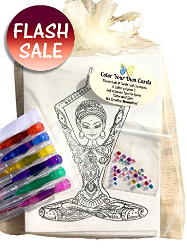 Adult Coloring Card Kit Diy Stationary includes 8 cards/envelopes on high quality ivory cardstock,6 glitter gel pens, rhinstones for added bling. - Scholar Craft Activity Table
