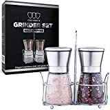 Premium Salt and Pepper Grinder Set of 2 - Salt and Pepper Shakers Mill, Stainless Steel Adjustable Coarseness Great Gift Set - Salt Grinders and Pepper Mill Shaker Mills Set