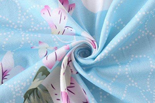 Blouse Shirt Chic 3 Chemisier Clair Hauts Imprim Tunique Manche Fleur Bringbring 4 Femme T Bleu 1vwpqq