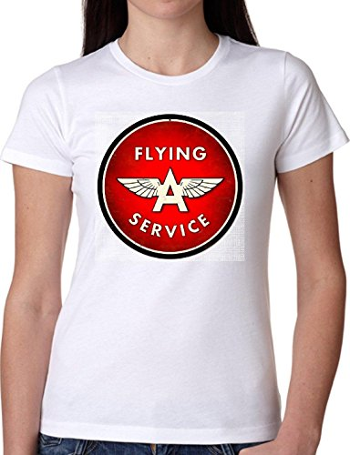 T SHIRT JODE GIRL GGG22 Z1301 FLYING SERVICE A LOGO BRAND AIRLINES FUN FASHION COOL BIANCA - WHITE S