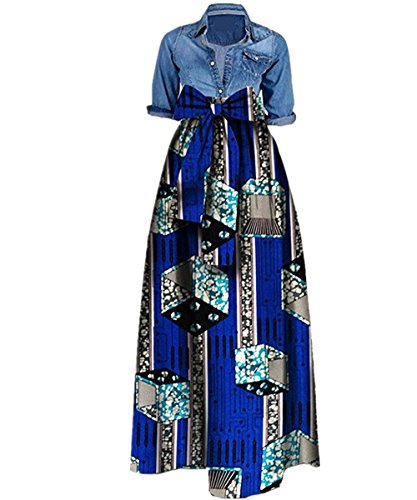 Shele Women's African Print Dashiki Long Maxi A Line High Waist Skirt (L, (African Outfit)