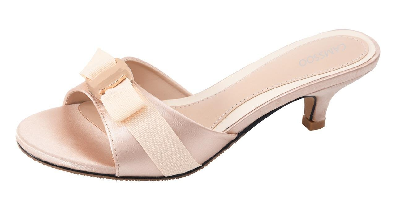 CAMSSOO Women's Summer Open Toe Satin Bowknot Sandals Kitten Heeled Slippers Slip On Shoes Champagne Size US7.5 EUR39
