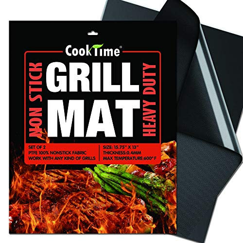 BBQ Grill Mats - NonStick Heavy Duty 600 Degree 2X Thicker Barbecue Grill Sheets Cooking Mat,Reusable and Easy to Clean Grilling Accessories,Set of 2,Work on All Outdoor/Gas Grill,15.75 x 13Inches